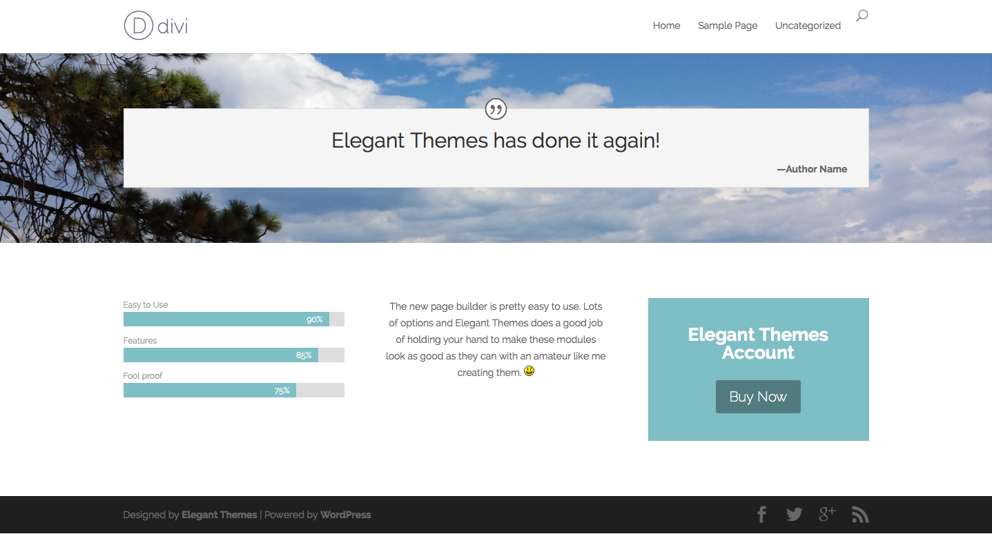 Designed by elegant themes powered by wordpress - Sample Divi Page